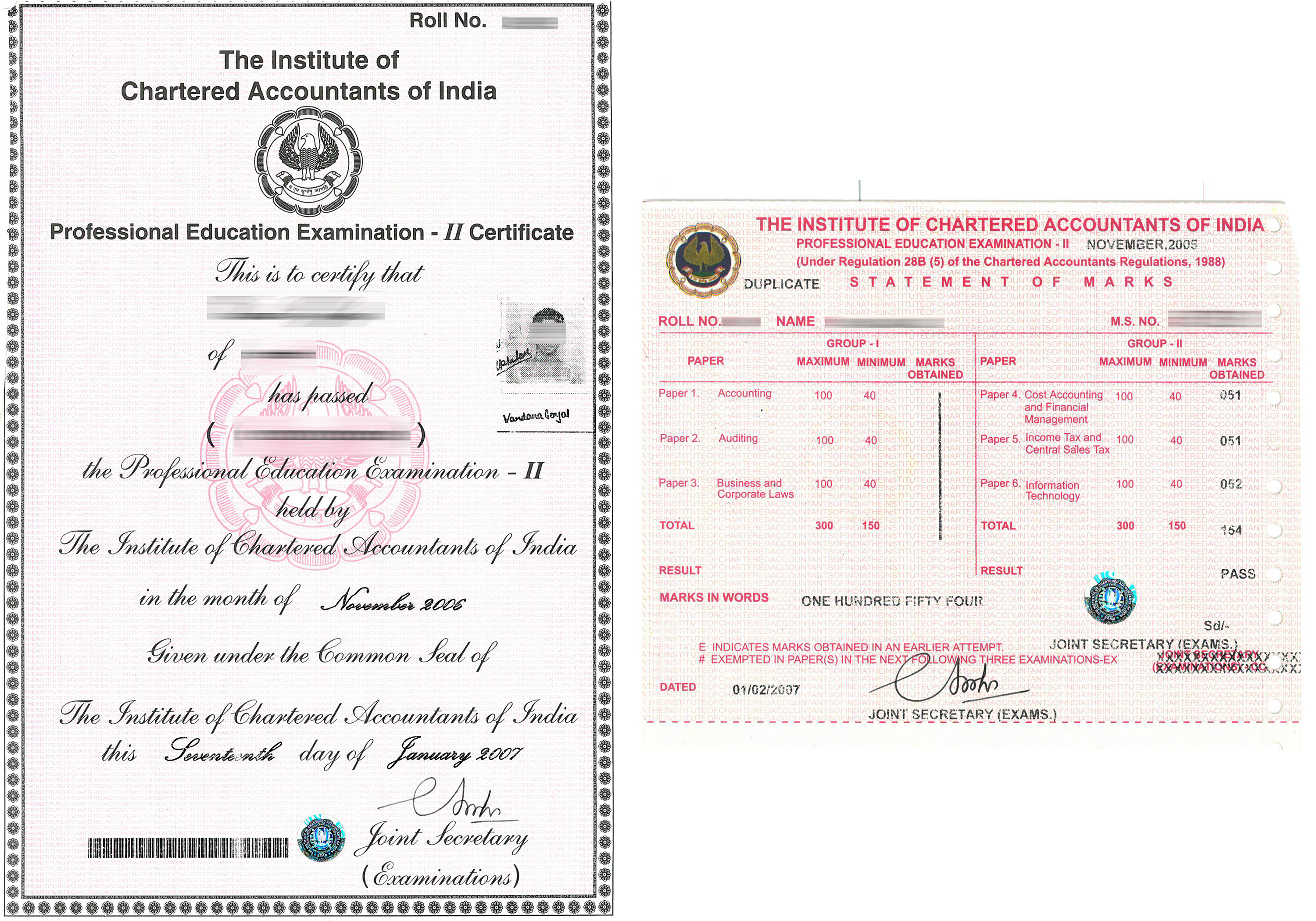A sample of ICAI credentials
